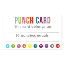 business card size inches punch card incentive loyalty reward cards business card size 3 5