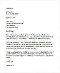 Board Of Directors Resignation Letter Example Letter From Board Of