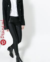 image 2 of faux leather legging with zips from zara winter faux