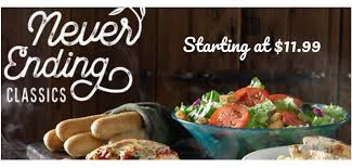 olive garden is offering their never ending classics with soup or salad and breadsticks starting from 11 99 and valid at partiting locations