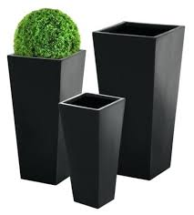 large black garden pots large black planters tall flared square black planter large x