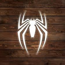 Text homecoming, spider, man, ps4, game, logo, spiderman Spider Man Ps4 White Spider Logo Decal Sticker Ebay