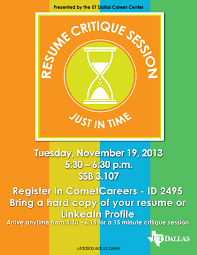 Just In Time Career Expo And Resume Critique Session Utd Career