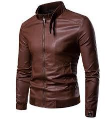 korean men s locomotive leather coat slim type vertical collar british leather jacket