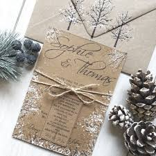 Rustic Winter Wedding Invitations Rustic Winter Wedding Invitation Stationery For A Snow Themed Etsy