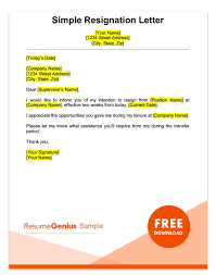 a sle simple two weeks notice resignation letter