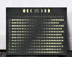 2018 Moon Chart 2018 Lunar Calendar Moon Phase Calendar Screen Printed