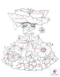 Kleurplaten Digitale Stempel Digi Meisje Bloemen Etsy
