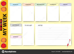 Chart A Bus Week Planner Part School Bus Contains Chart Notes White