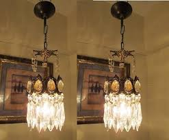 pair of antique vintage french basket style crystal chandelier lamp 1940 s 4 in