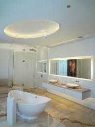 cool bathroom lights. Spacious Modern Bathroom Interior Design Decorated With Minimalist Vanity In White Color And Light Fixtures Cool Lights S