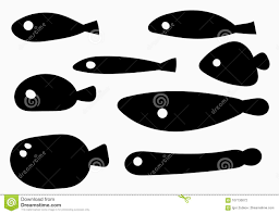 Un Insieme Del Pesce Stilizzato Una Collezione Di Siluette Nere Del