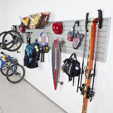 modular sports wall storage panel set with accessories in silver 17 piece