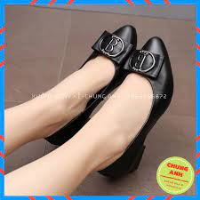 Giày búp bê FREESHIP giày công sở nữ đế vuông 4cm đính nơ B chất da lỳ cao  cấp - BB11 tại Thái Bình