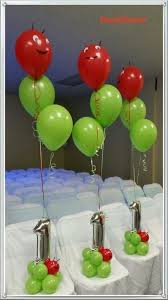 cute birthday balloon centerpieces in lime red and silver nice detail the faces and ears on the top balloon
