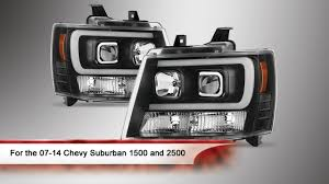 All Chevy 95 chevy headlights : 07-14 Chevy Suburban 1500/2500 Light Bar DRL Version 2 Projector ...
