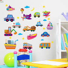 wall stickers for boy nursery unique car for aircraft and ships wallpaper for kids rooms home decor art