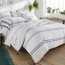 riad striped cotton duvet cover white