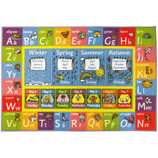 kc cubs multi color kids children bedroom abc alphabet seasons months educational learning 8 ft