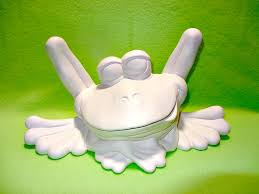 large ceramic paintable silly frog garden statue