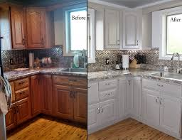 Modren Painting Cherry Kitchen Cabinets White Paint Before And With Design