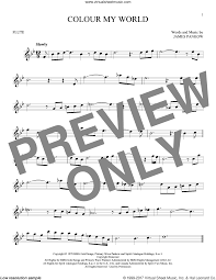 color my world sheet music chicago colour my world sheet music for flute solo