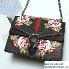 gucci 403348. gucci web embroidered floral dionysus leather shoulder medium bag 403348/400235 black 2017 403348