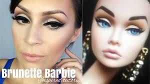 brunette barbie inspired makeup l cut crease tutorial