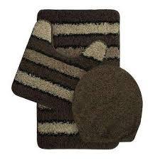 deliso olefin stripe non slip chocolate 3 piece bath rug set