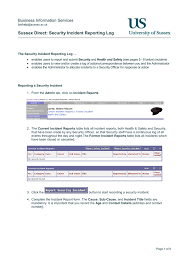Incident Reporting Log Security Microsoft Word Document