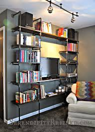 Industrial Bookcase Diy Serendipity Refined Blog Diy Industrial Pipe Shelves For The