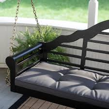 Belham Living Kimbro Lutyens 5 ft. Outdoor Porch Swing with Cushion - Black  | Hayneedle