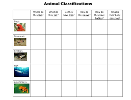 Animal Classification Chart Living Things Unit Animals In Oman Animal Classification