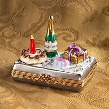 Limoges Happy Birthday With Champagne Cake And Gift Box Limoges