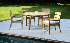 modern teak outdoor furniture magnificent design brown polished round wooden coffee table four chairs set white