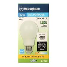 Bright White Light Bulbs Westinghouse Lighting 5309820 40 Watt Equivalent Omni A19 Dimmable Bright White Led Energy Star Light Bulb With Medium Base 6 Pack