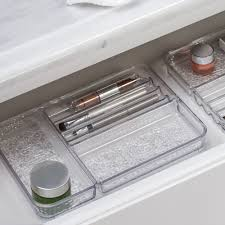 interdesign rain cosmetic organizer tray for vanity cabinet to hold makeup beauty s um clear walmart