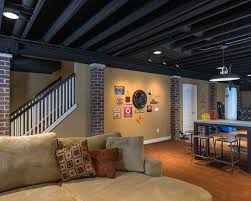 exposed ceiling lighting basement industrial black. black exposed ceiling basement industrial with bar living area tile floor lighting