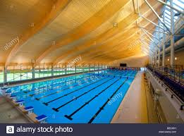 olympic sized swimming pool at the mountbatten centre stock image