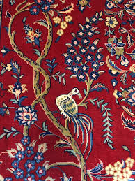 stunning antique persian rug 1950s hand knotted sarouk tree of life design red blue navy beige 210cm x 135cm 6 9 x 4 4