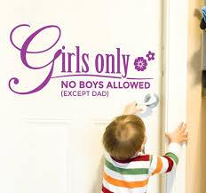 kids text girls only wall sticker