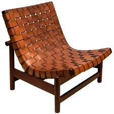 1950s lounge chair in woven saddle leather and cuban gany by dujo cuba for
