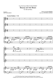 beauty and the beast sheet music alan menken and beauty and the beast sheet music to download and