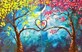 painting with a twist sherman love trees at night