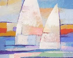 abstract sailboat painting sailing mates by lutz baar