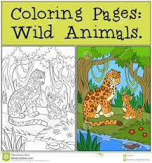 P Ginas Del Colorante Animales Salvajes Jaguar De La Madre Con Su Colorantes Animales L