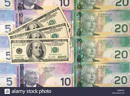 Various Canadian dollar banknotes with ...