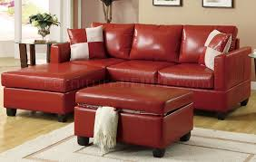 red bonded leather contemporary small