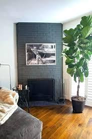 gray brick fireplace black paint white mantle