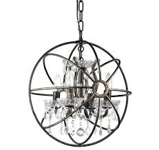 metal and crystal chandelier cage crystal chandelier antique bronze metal cage globe and crystal mini chandelier